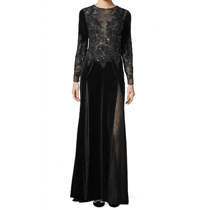 kadife gece elbisesi dantel dekolte