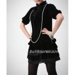 kadife kısa kollu harika elbise