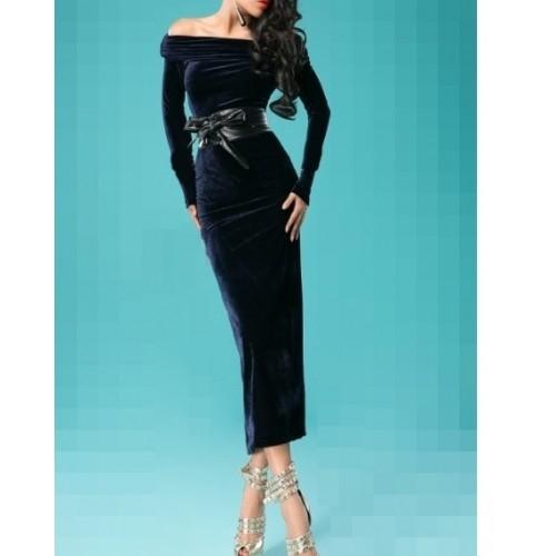 kadife omuz açık arka yırtmaçlı dizaltı elbise