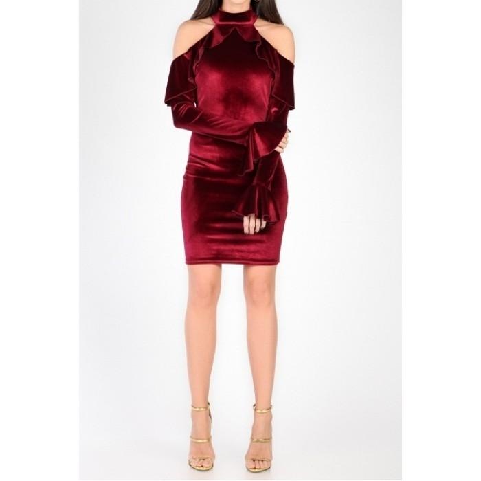 kadife omuzlar açık volanlı uzun kol mini elbise