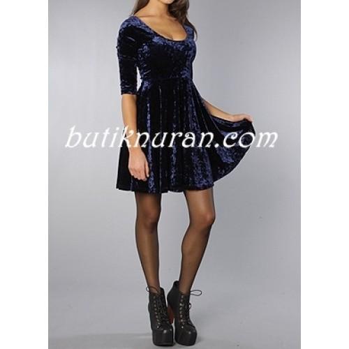 kadife sırt detaylı basic elbise