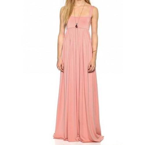 kalın askılı büzgülü uzun  elbise