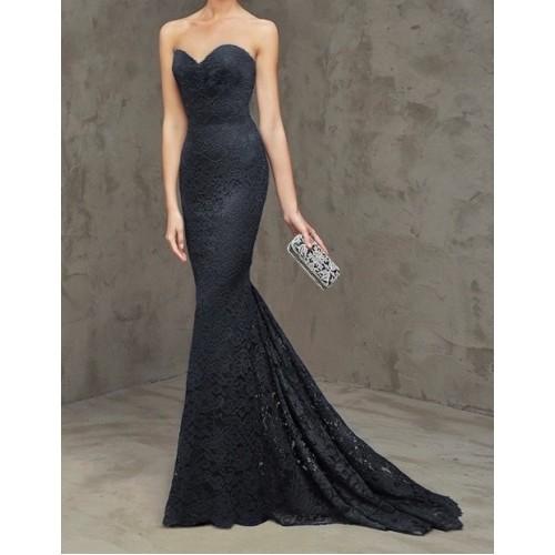 kalp yaka kuyruklu dantel abiye elbise