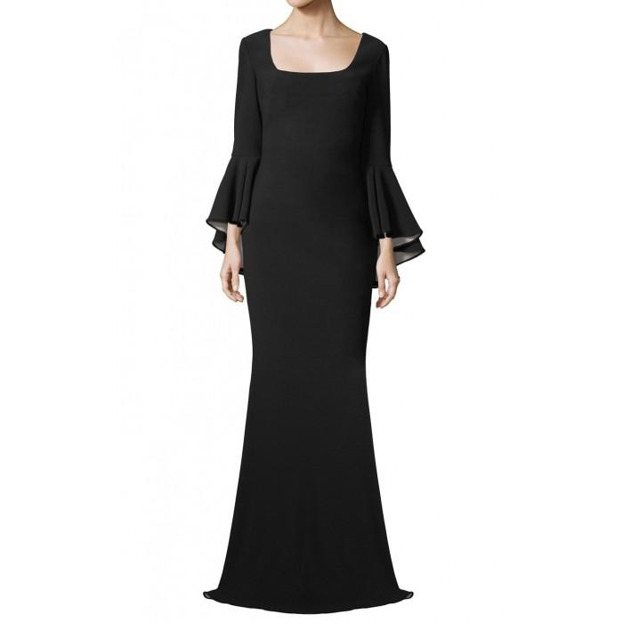 kare yaka çan kollu oturan model gece elbisesi