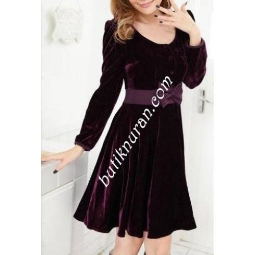 kloş etekli kadife elbise