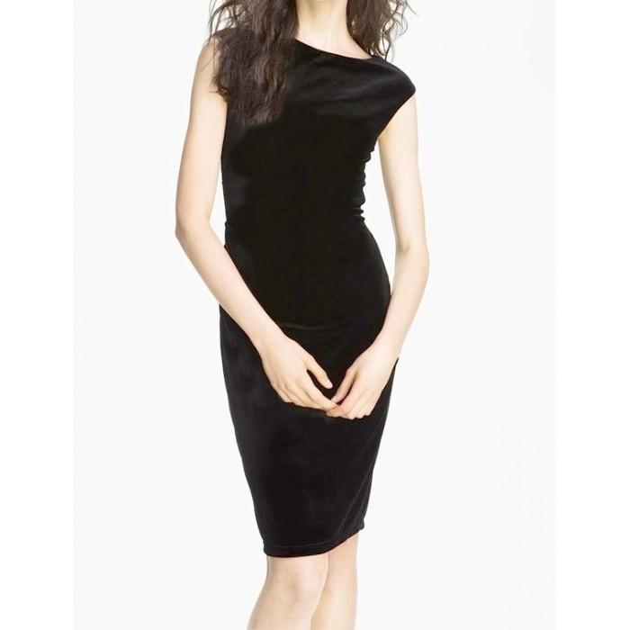 kolsuz kalem kadife sırt detaylı elbise