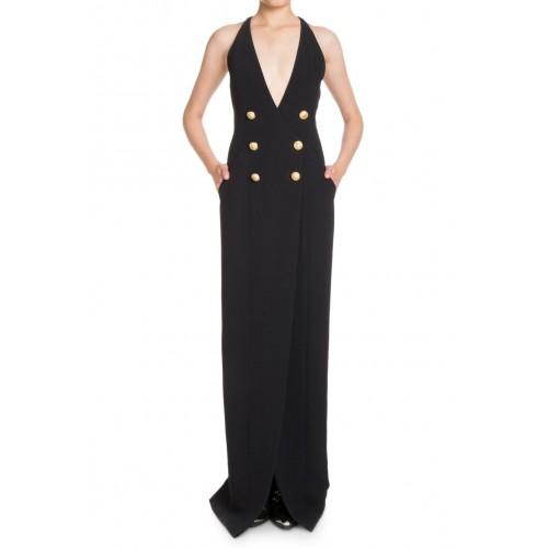 kruvaze çift düğmeli derin v göğüs dekolte uzun gece elbisesi