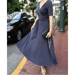 kruvaze dolamalı bağlamalı kısa kollu uzun elbise