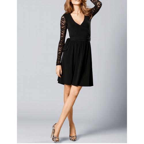 kruvaze siyah dantel kollu kısa elbise
