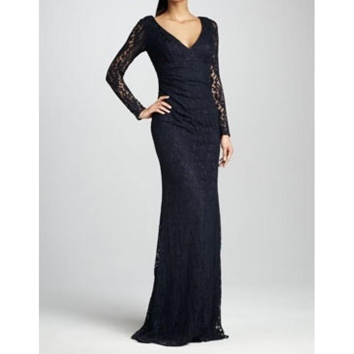 kruvaze uzun dantel elbise