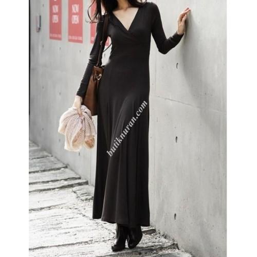 kruvaze uzun elbise
