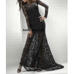 kuyruklu dantel uzun elbise