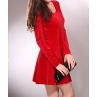 mini sırt v dekolte uzun kollu kadife elbise