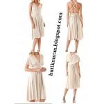 multi wrap kısa kloş etekli elbise