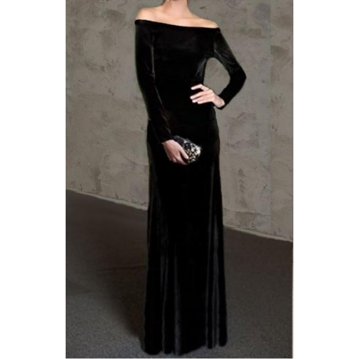 omuz açık uzun kollu bol etekli uzun kadife elbise