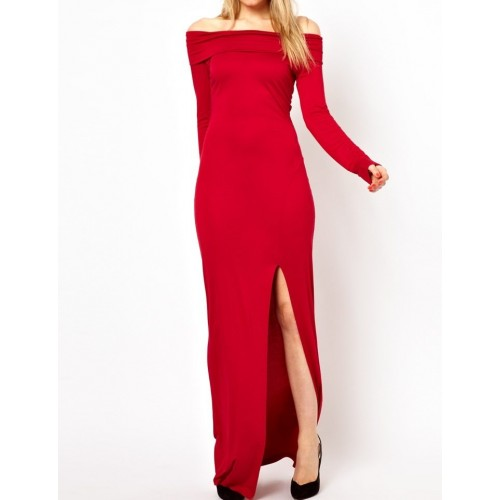omuz dekolte uzun yırtmaçlı elbise