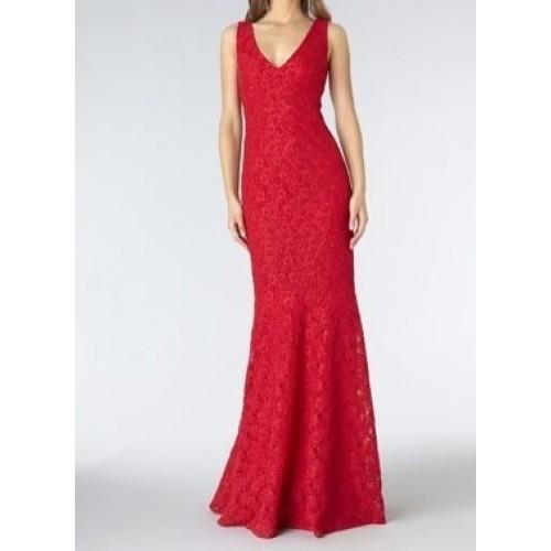 ön arka v yaka balık dantel elbise