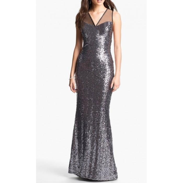 payetli balık etekli askılı abiye elbise