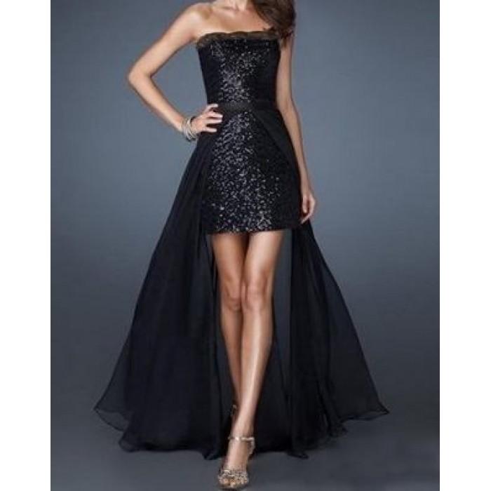 payetli straplez dantelli tül etekli elbise