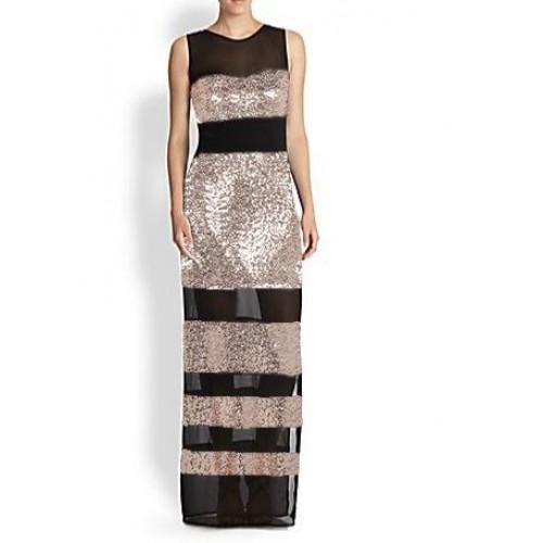 payetli tül bantlı uzun abiye elbise