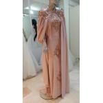 pudra pelerinli abiye elbise