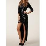 pullu asimetrik abiye elbise