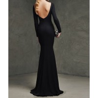 sırt v uzun kollu balık elbise