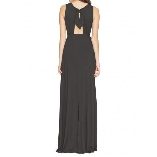 sırtı pencereli füyonklu kolsuz uzun yazlık abiye yırtmaçlı elbise