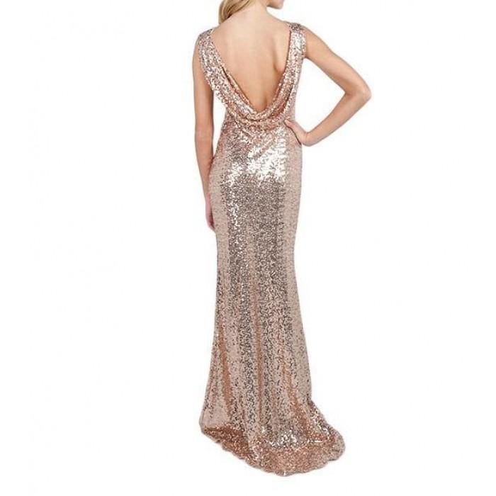 sırt degaje kolsuz kuyruklu payetli elbise