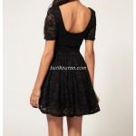 sırt dekolte mini dantel elbise