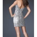 uzun kollu sırt v mini payetli elbise