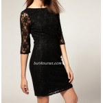 sırt detay dantel elbise