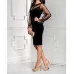 tül kollu yakalı mini kadife elbise