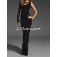 tek kol dantel sırt detaylı uzun elbise