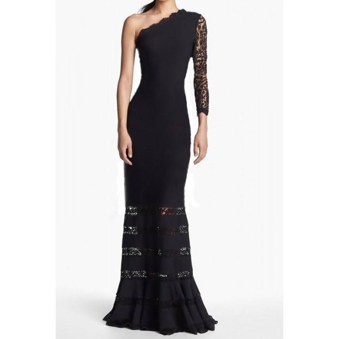 tek kol dantelli uzun abiye elbise