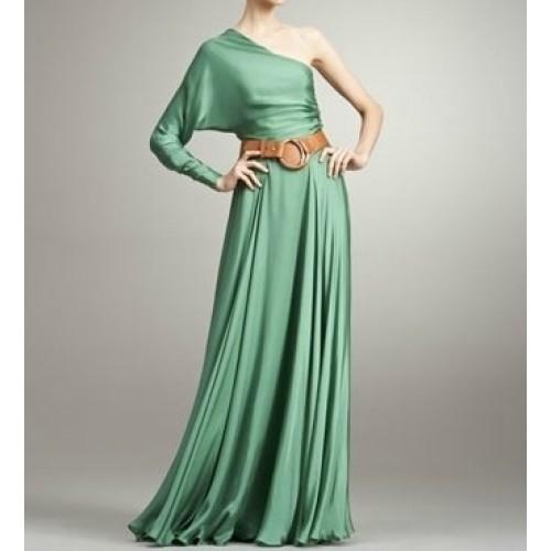 tek kol kloş etekli elbise