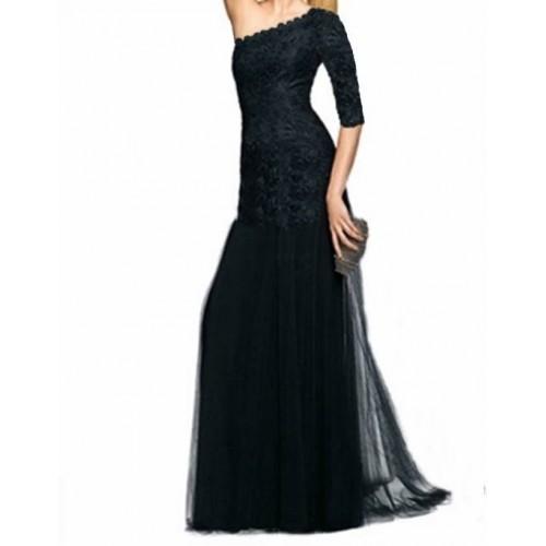 tek kol dantel uzun gece elbisesi