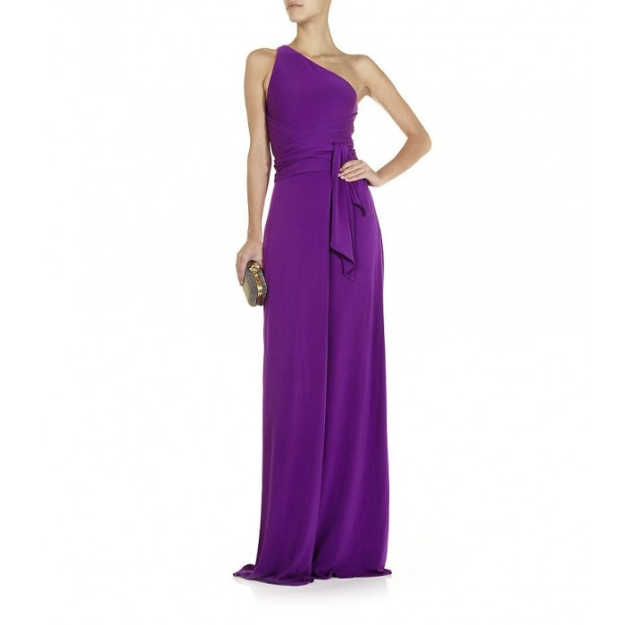 tek omuz bağcıklı uzun elbise