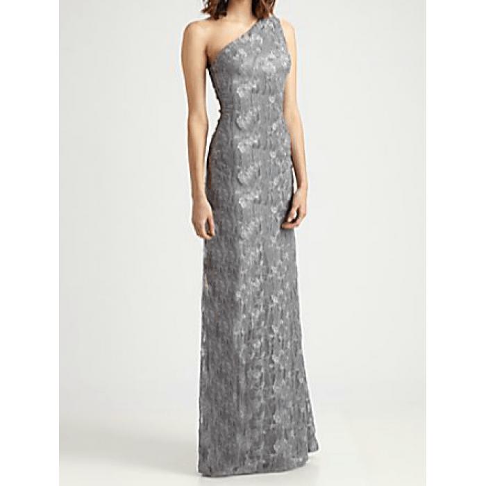 tek omuz uzun çan etekli dantel elbise