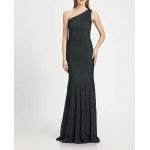tek omuz uzun balık etekli dantel elbise