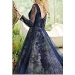 transparan dantelli lacivert nişanlık abiye elbise