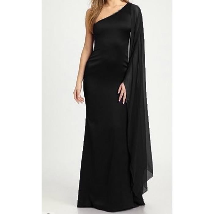 tül kol tek omuz uzun abiye elbise