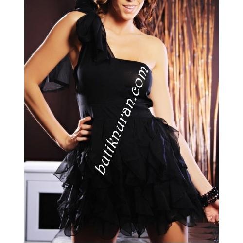 tüllü harika straplez elbise
