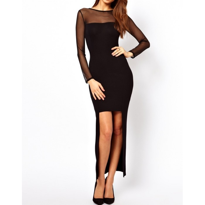 tüllü sırt dekolte asimetrik etekli abiye elbise