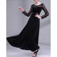 üstü dantelli uzun kollu kadife abiye elbise