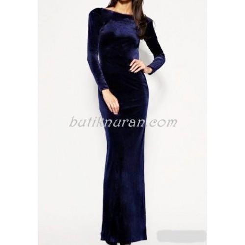 uzun kadife elbise