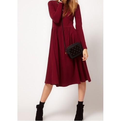 uzun kol basic elbise