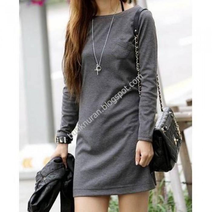 uzun kol mini cepli tunik elbise
