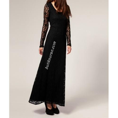 uzun kollu dantel elbise