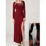 uzun kollu derin yırtmaçlı elbise